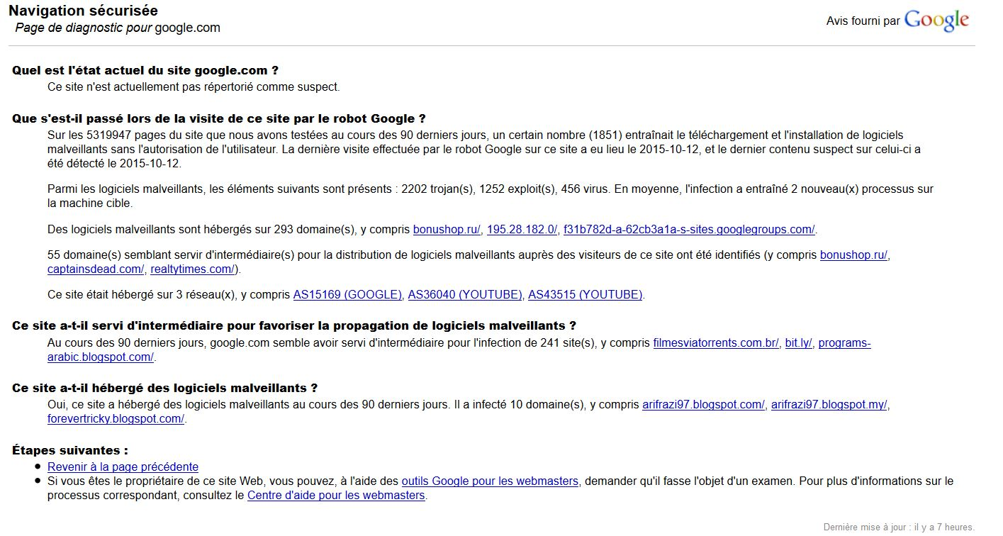 Resultat diagnostic google.com